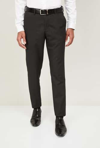 CODE Men Textured Slim Tapered Formal Trousers