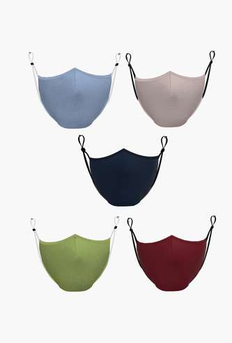 ALLEN SOLLY Women Solid Reusable Face Mask- Pack of 5