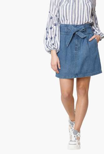 VERO MODA Women Solid Denim Skirt