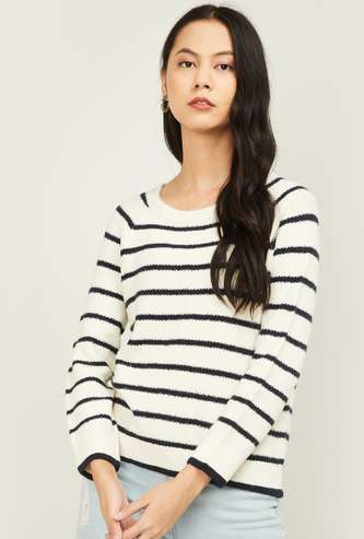 FAME FOREVER Women Striped Round Neck Sweater
