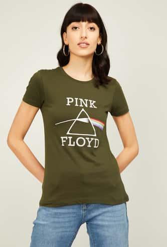 FREE AUTHORITY Women Typographic Print Short Sleeves T-shirt