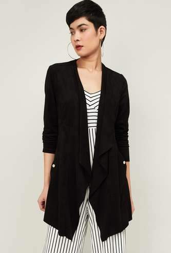 CODE Women Textured Waterfall Shrug with Insert Pockets