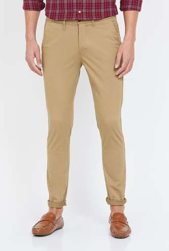 CODE Virobar Men Solid Slim Straight Casual Trousers