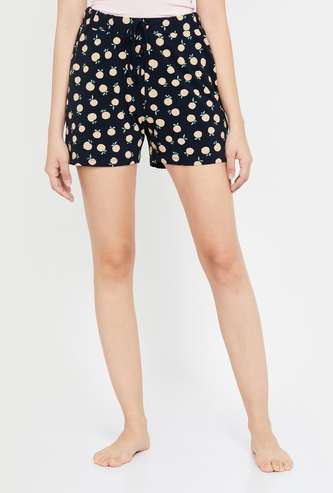 GINGER Women Printed Lounge Shorts with Drawstring Waist