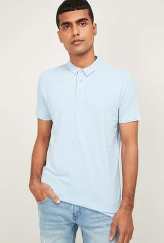 FORCA Men Solid Regular Fit Polo T-shirt
