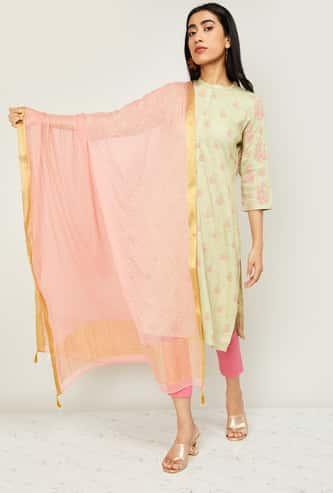 MELANGE Women Foil Print Dupatta with Zari Border