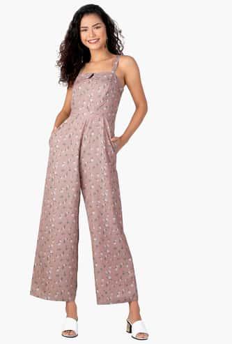 FABALLEY Women Floral Print Sleeveless Jumpsuit