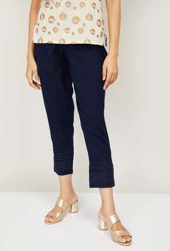 MELANGE Women Solid Cropped Straight Pants