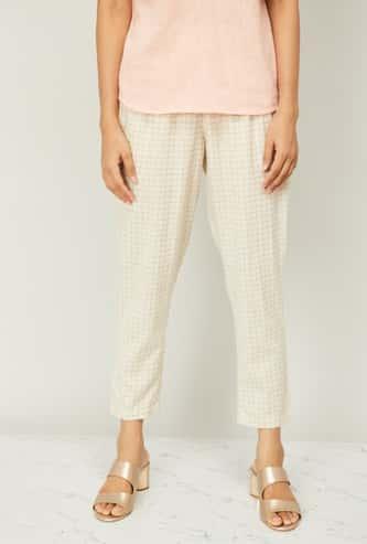 MELANGE Women Windowpane Checks Cropped Straight Pants