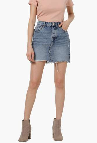 ONLY Women Lightly Washed Denim Skirt with Frayed Hems