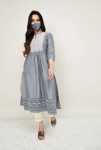MELANGE Women Embroidered Straight Kurta with Pants and Mask