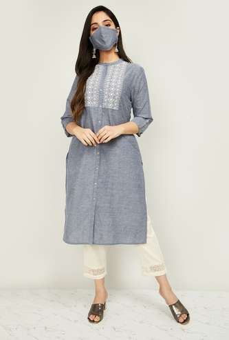 MELANGE Women Embroidered Kurta with Solid Salwar and Mask