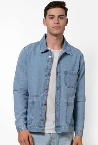 CELIO Men Solid Button-Front Denim Jacket