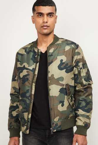 JACK & JONES Men Camouflage Print Bomber Jacket
