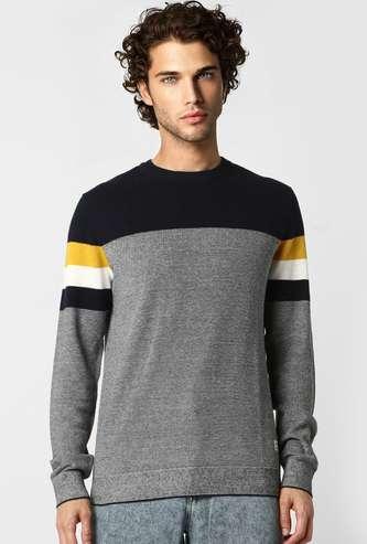 JACK & JONES Men Colorblocked Crew Neck Sweater