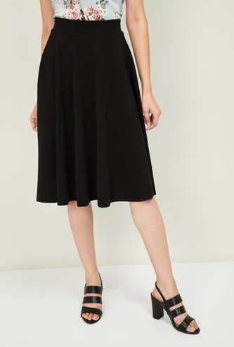CODE Women Textured A-line Skirt