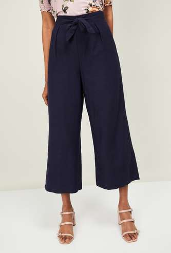 CODE Women Solid Culottes with Sash Tie-Up