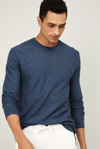UNITED COLORS OF BENETTON Men Solid Full Sleeves Sweater