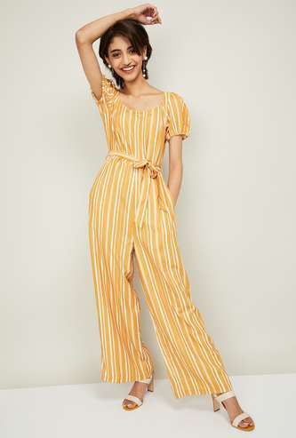 FABALLEY Striped Jumpsuit with Sash Tie-Up