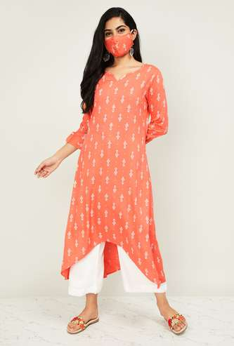MELANGE Women Printed A-line Kurta with Palazzo Pant and Mask