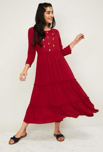 MELANGE Women Embroidered Midi Dress