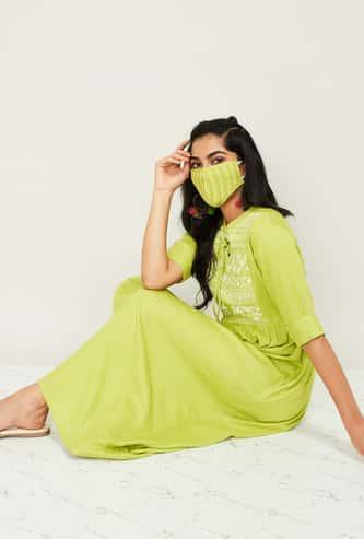 MELANGE Women Embroidered Midi Dress with Mask