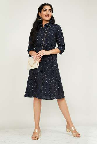 MELANGE Women Printed Three-quarter Sleeves A-line Dress with a Mask
