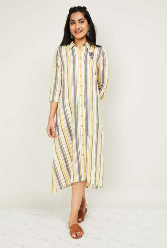 MELANGE Women Striped Three-quarter Sleeved Midi Dress