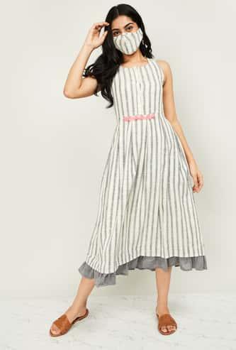 MELANGE Women Striped Sleeveless Midi Dress with Mask