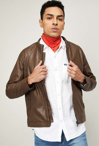 CELIO Men Solid Full Sleeves Biker Jacket