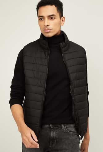 CELIO Men Solid Puffed Sleeveless Jacket