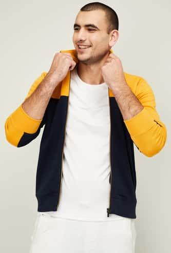 CELIO Men Colorblocked Front-Open Sweatshirt