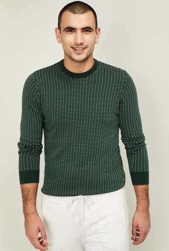 CELIO Men Textured Crew Neck Sweater