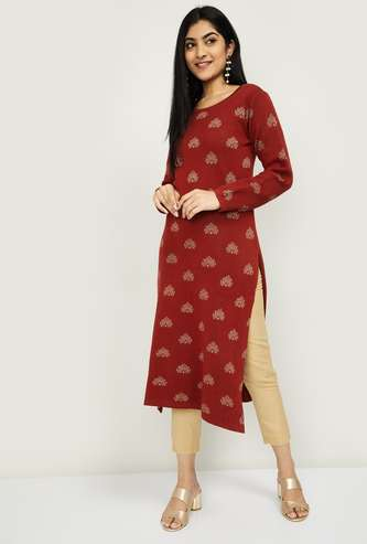 MELANGE Women Patterned Knit Straight Kurta