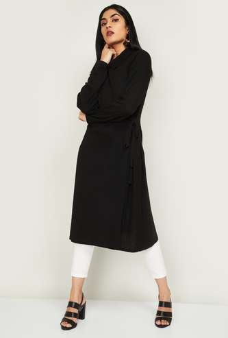 MELANGE Women Textured Tunic with Cowl Neck