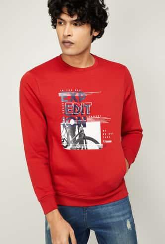 T-BASE Men Graphic Print Full Sleeves Sweatshirt