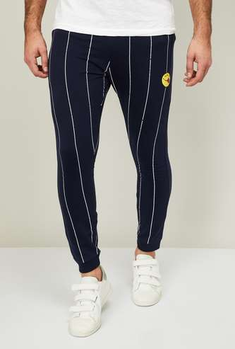 SMILEY Men Striped Elasticated Track Pants