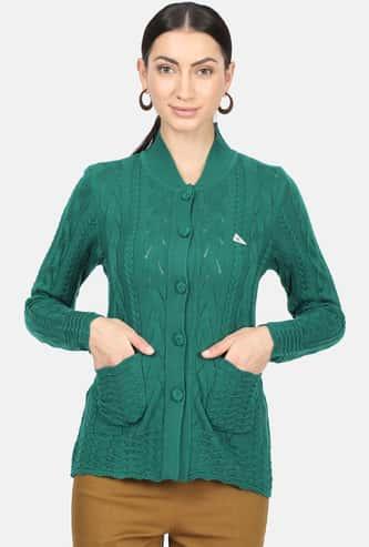 MONTE CARLO Women Textured Full Sleeves Cardigan