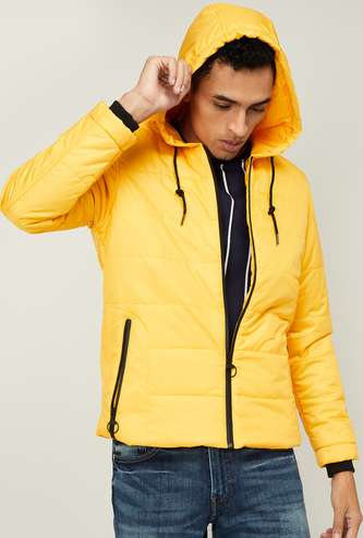 NUMERO UNO Men Full Sleeves Quilted Hooded Jacket