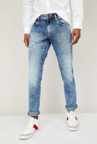 WRANGLER Men Stonewashed Slim Tapered Jeans