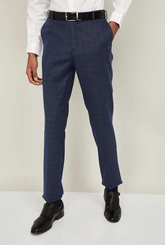ARROW Men Checked Slim Fit Formal Trousers