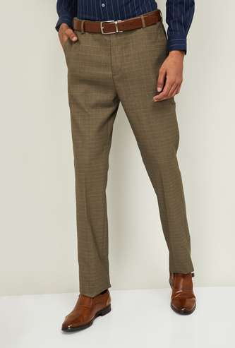 ARROW Men Checked Slim Tapered Formal Trousers