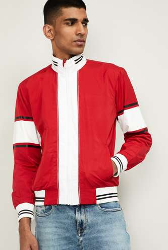 NUMERO UNO Men Colourblock Full Sleeves Biker Jacket