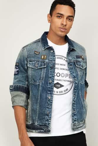 NUMERO UNO Dark Washed Denim Jacket with Applique