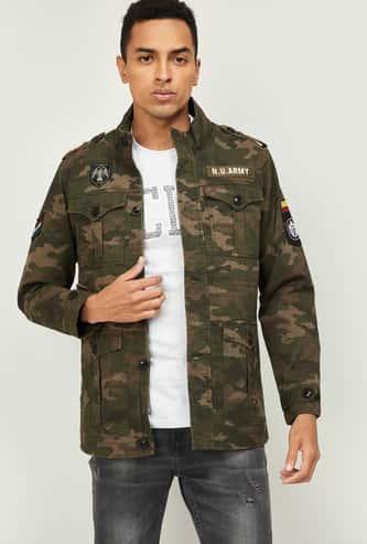 NUMERO UNO Men Camouflage Print Jacket with Applique
