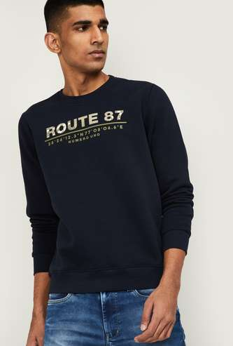 NUMERO UNO Men Printed Full Sleeves Sweatshirt