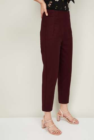CODE Women Solid Pleated Trousers