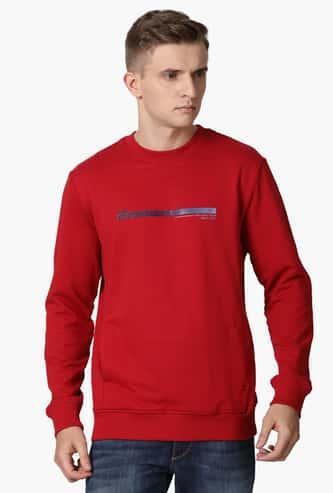 T-BASE Men Typographic Print Crew-Neck Sweatshirt