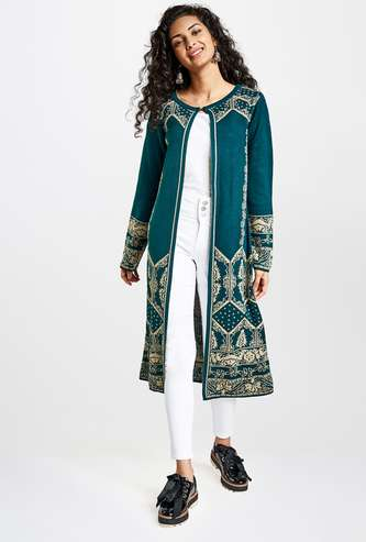 GLOBAL DESI Women Patterned Knit Long Shrug