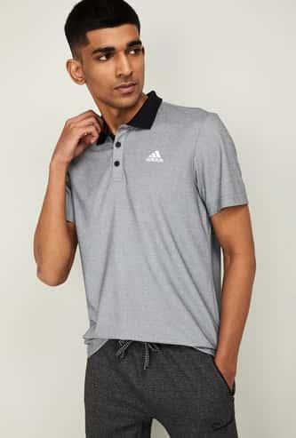 ADIDAS Men Heathered Regular Fit Training Polo T-shirt